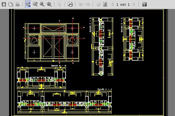 Ansichten und Schnitte einer Fassade mit 2-flg. Tr, Dreh-Kipp-Fenster ...